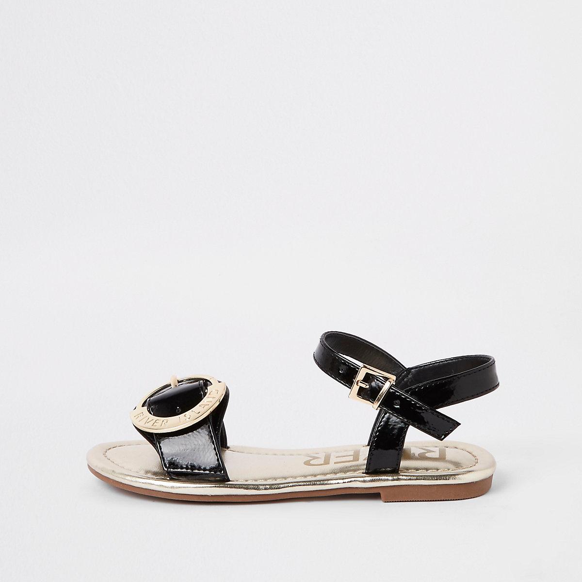 Girls black RI buckle sandals