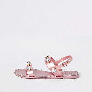 Sandales en plastique roses à pierres fantaisie pour fille