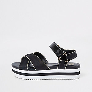 Zwarte sportieve schoenen met plateauzool voor meisjes