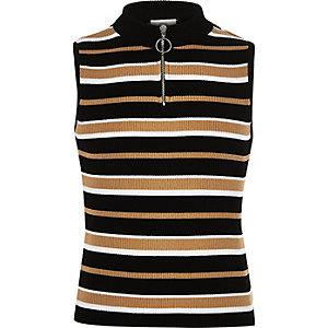 Girls stripe zip knit tank top