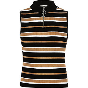 Girls stripe zip knit tank top