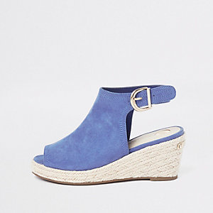 Girls blue espadrille peep toe wedges