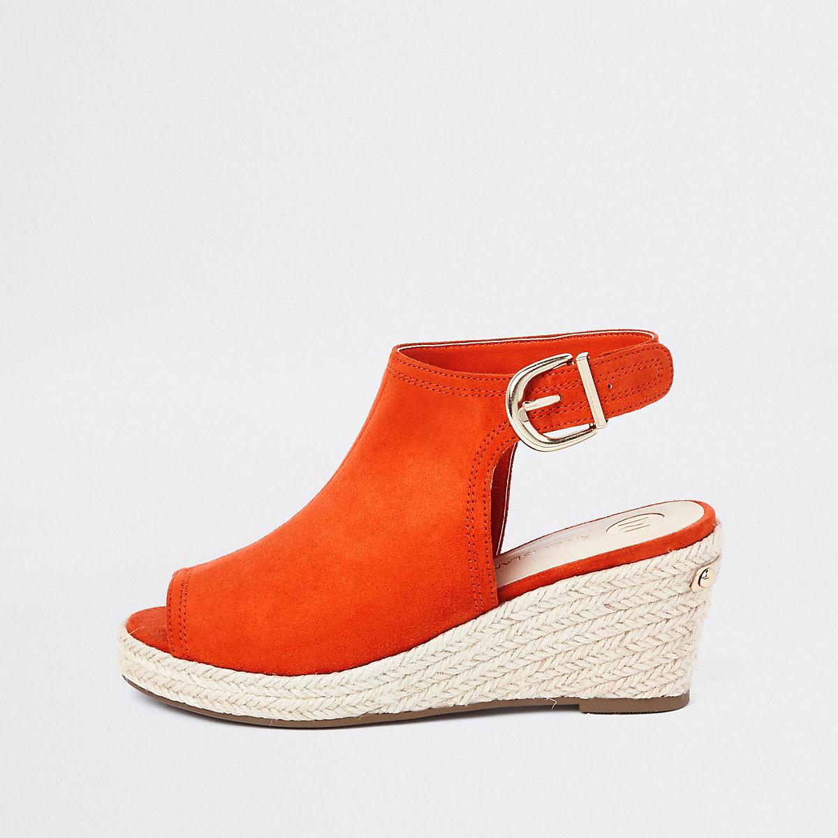 Girls orange espadrille peep toe wedges