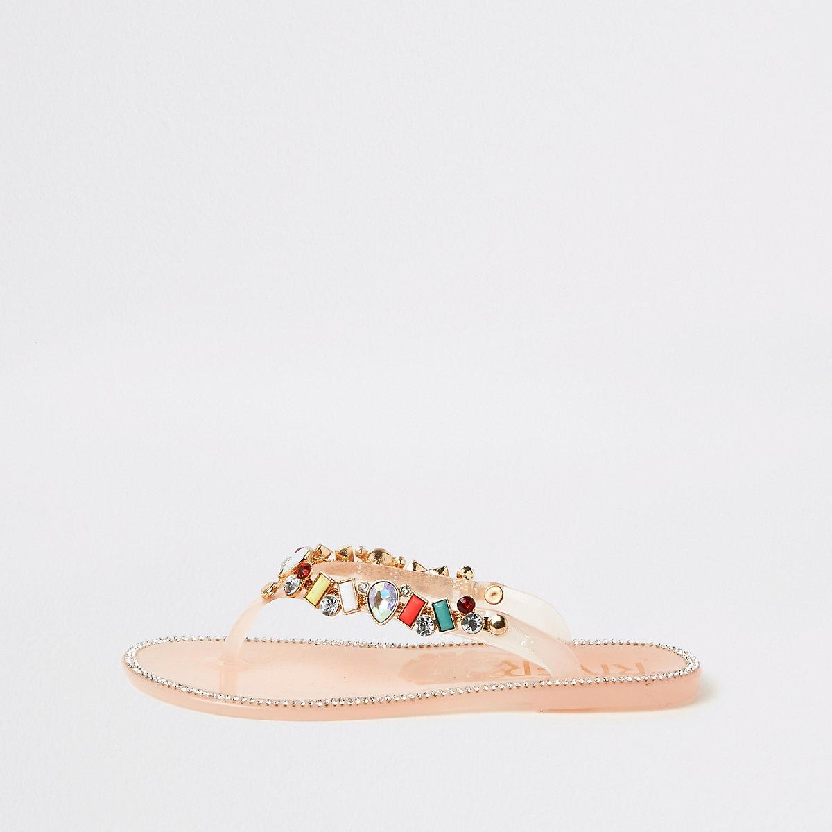 Girls gem embellished jelly flip flops