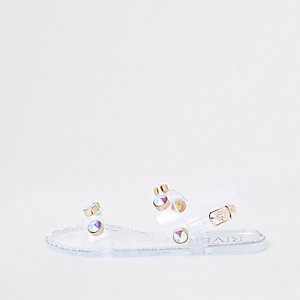Girls white jewel jelly sandals