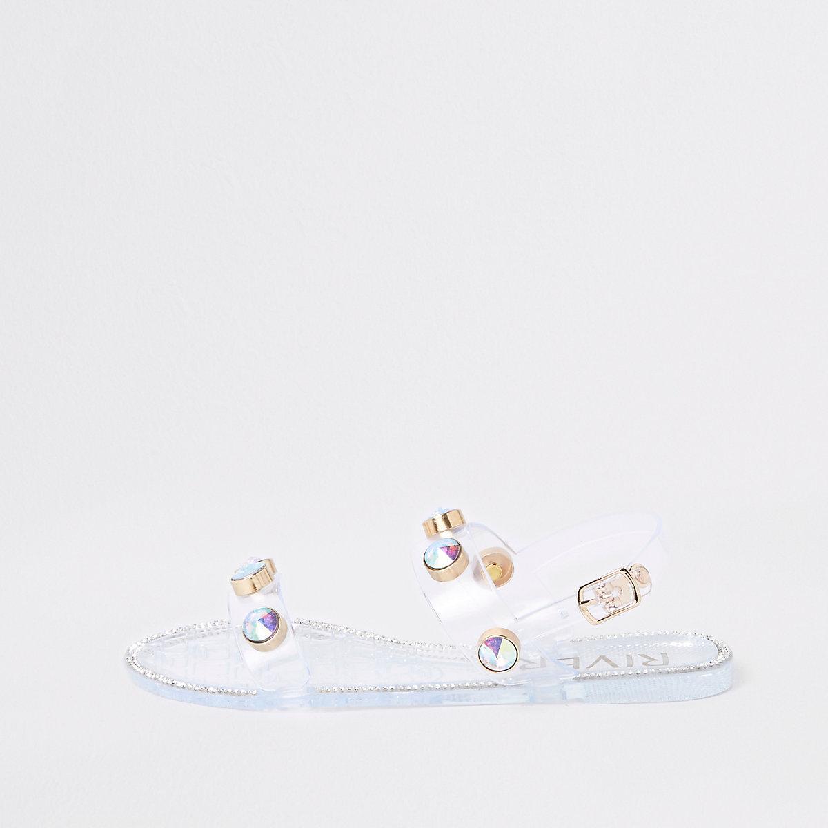 Girls white jewel jelly sandals