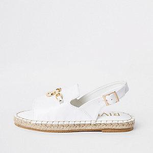 Sandales espadrilles blanches à bride arrière pour fille
