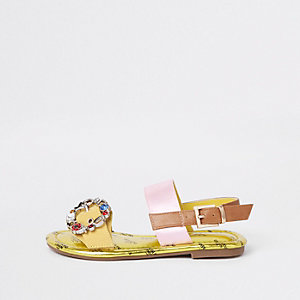 Girls yellow gem buckle sandals