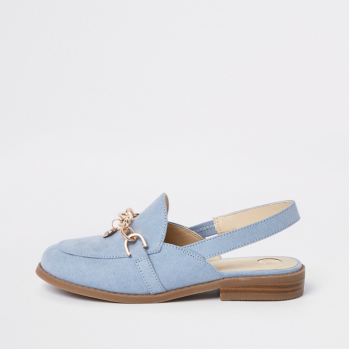 Girls blue chain backless loafers