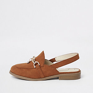 Girls brown chain backless loafers