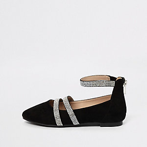 Girls black rhinestone strap ballet flats