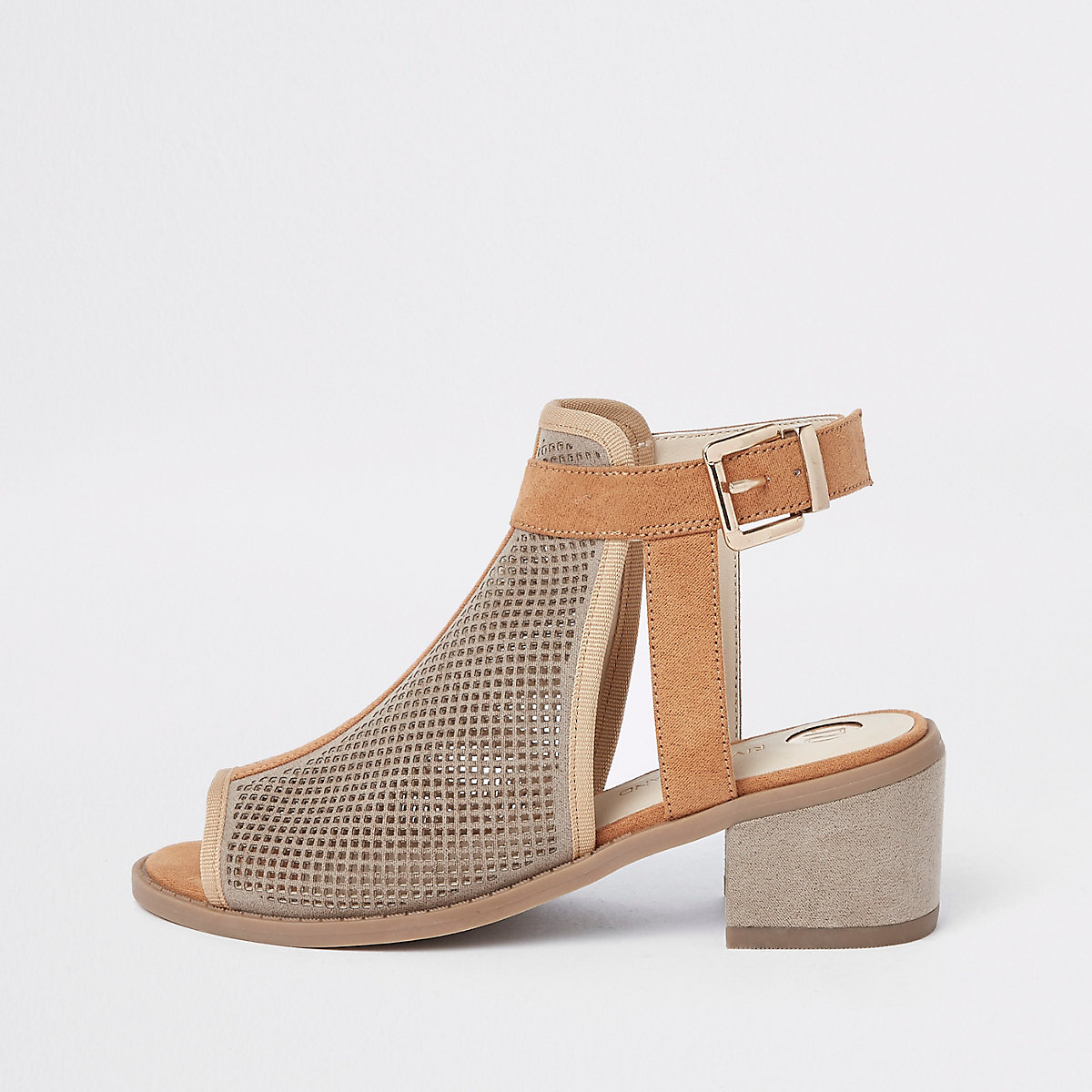 Girls beige cutout panel shoe boots