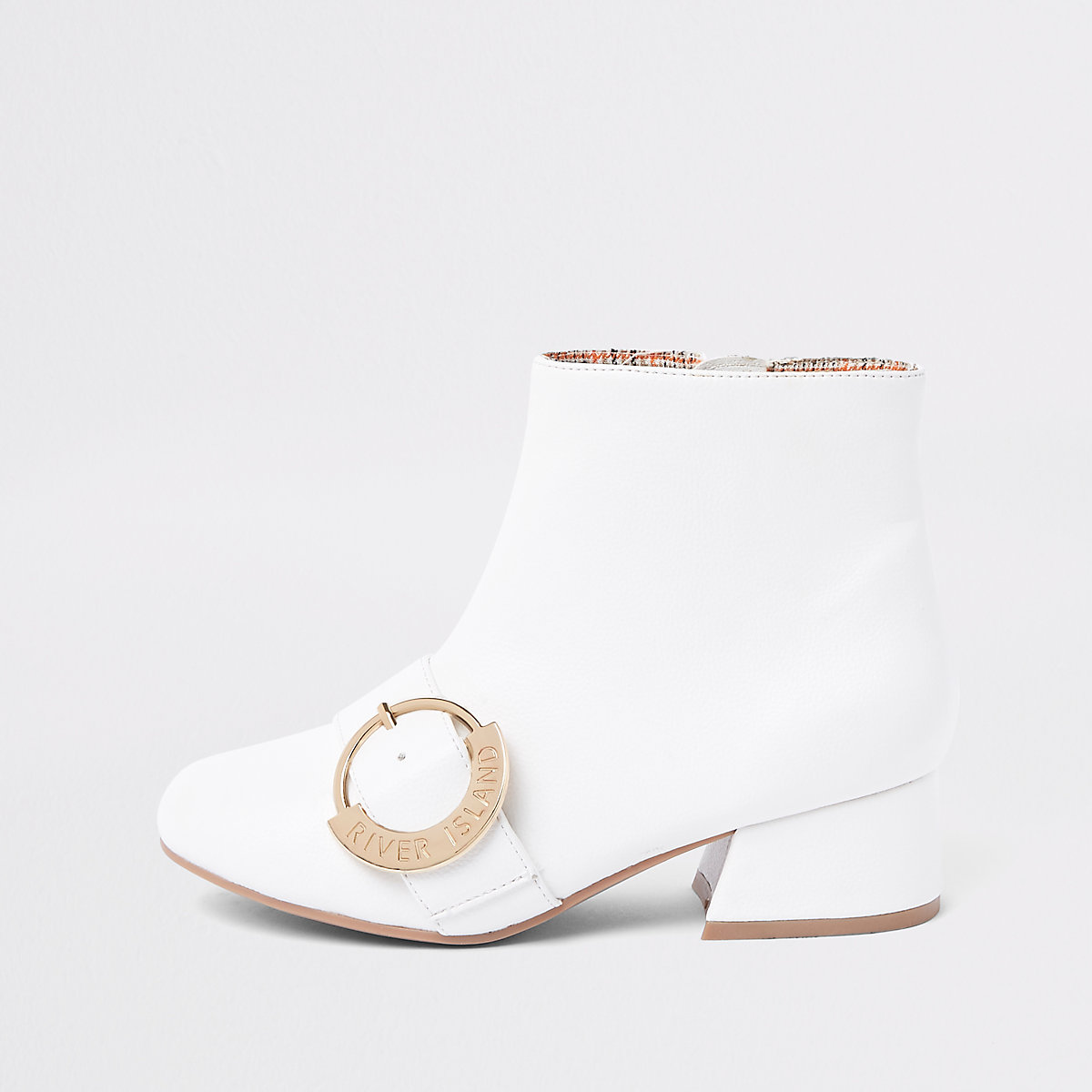 Girls white double RI circle buckle boots