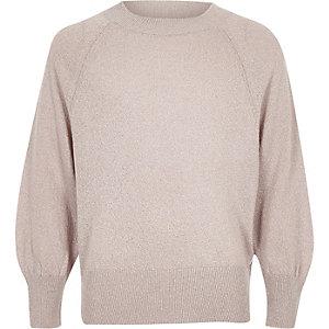 Girls pink glitter slouch sweater