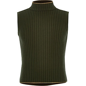 Girls khaki ribbed high neck tank top