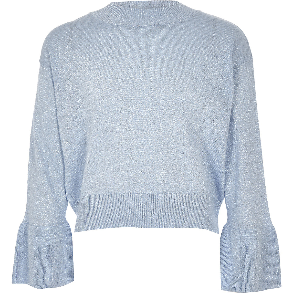 Girls blue knit metallic bell sleeve sweater