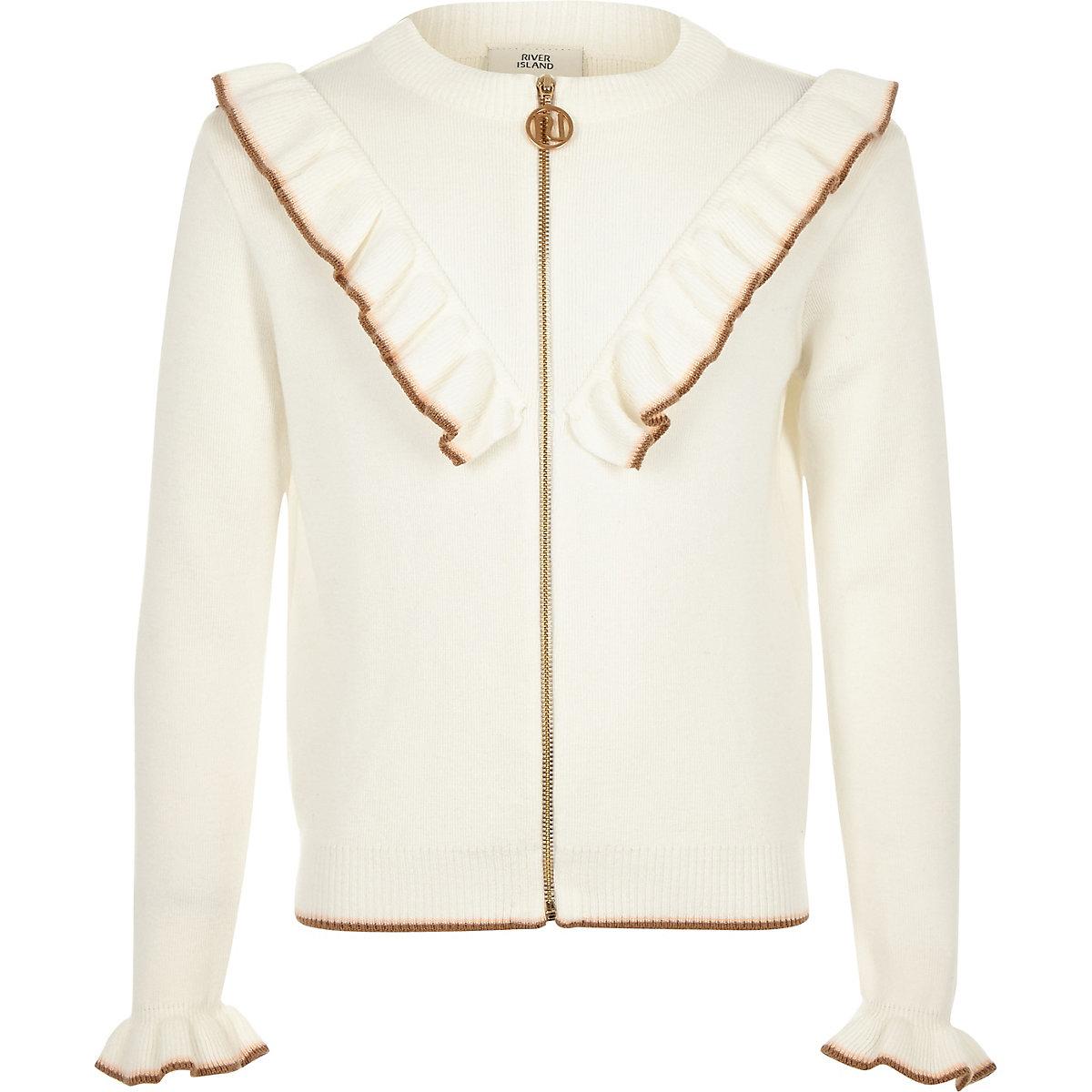 Girls cream zip front frill cardigan