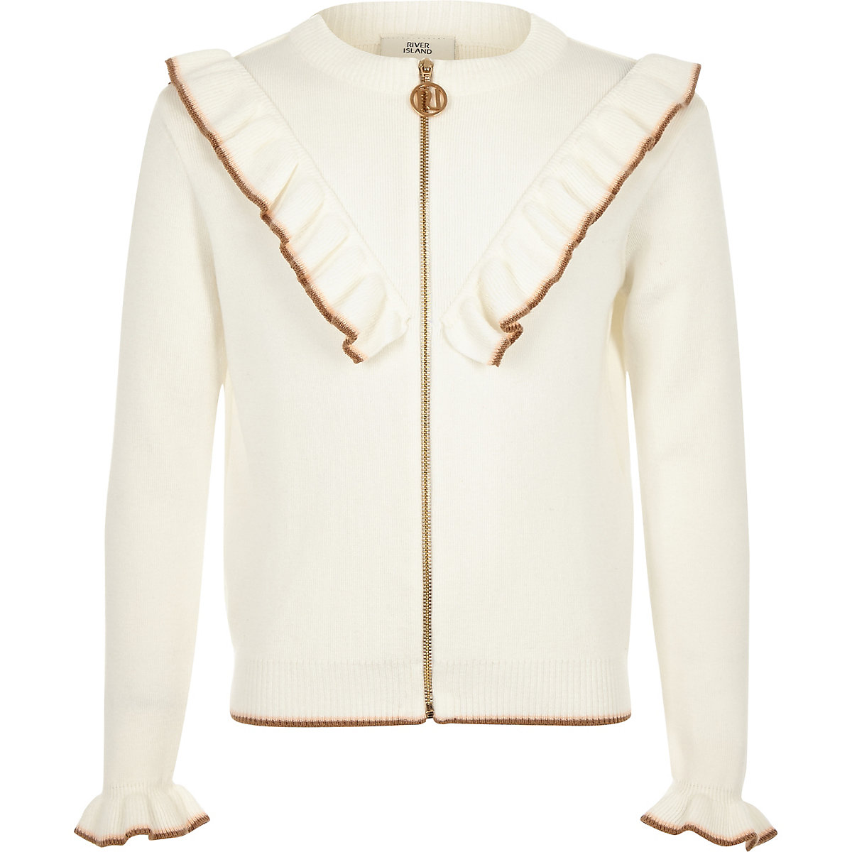 Girls cream zip front frill cardigan