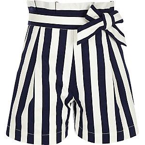 Marineblauwe gestreepte poplin short met ingesnoerde taille voor meisjes