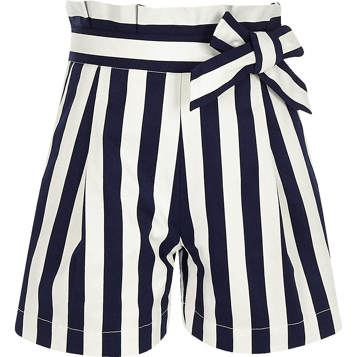 Girls navy stripe poplin paperbag shorts