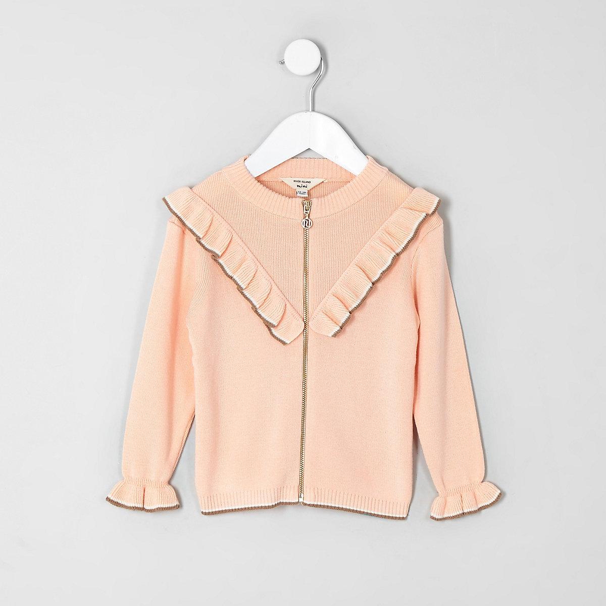 Mini girls coral zip through cardigan