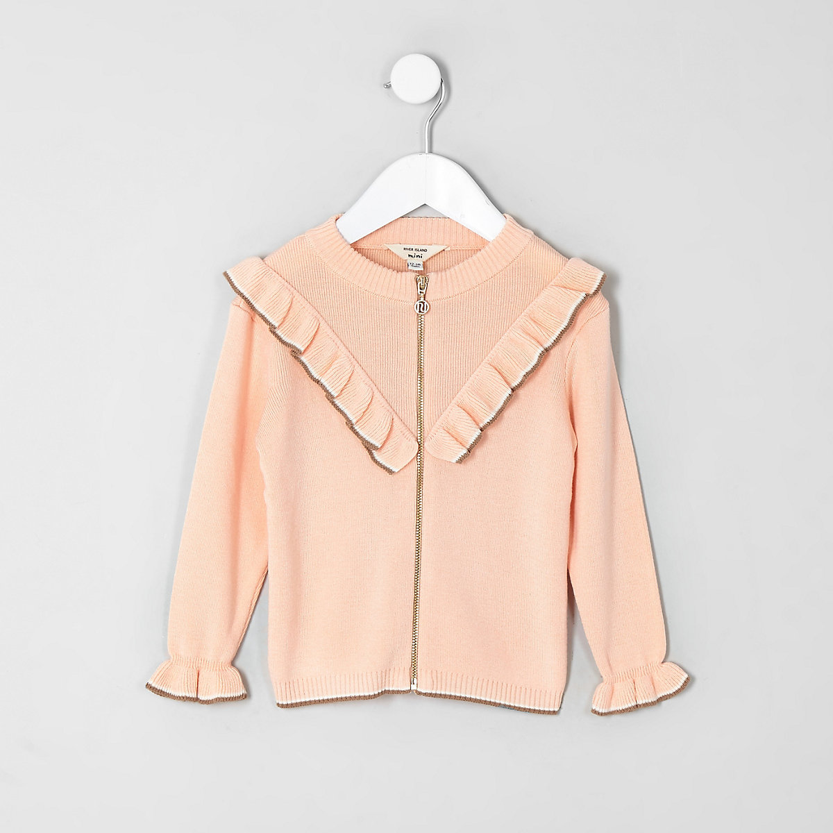 Mini girls coral zip through cardigan