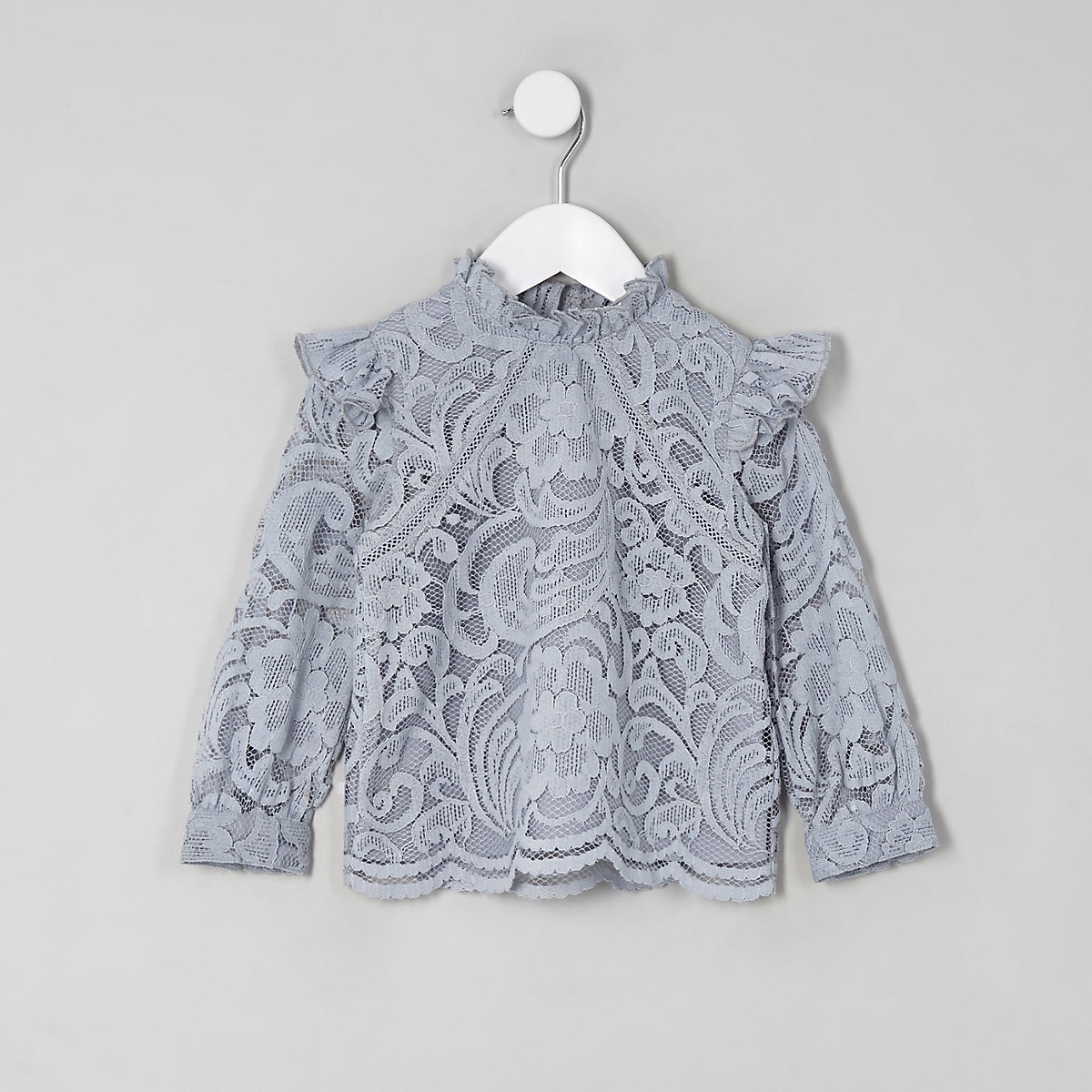 Mini girls blue lace frill neck top