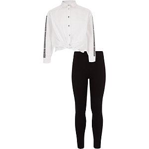 Ensemble avec chemise blanche ornée de bandes à carreaux fille