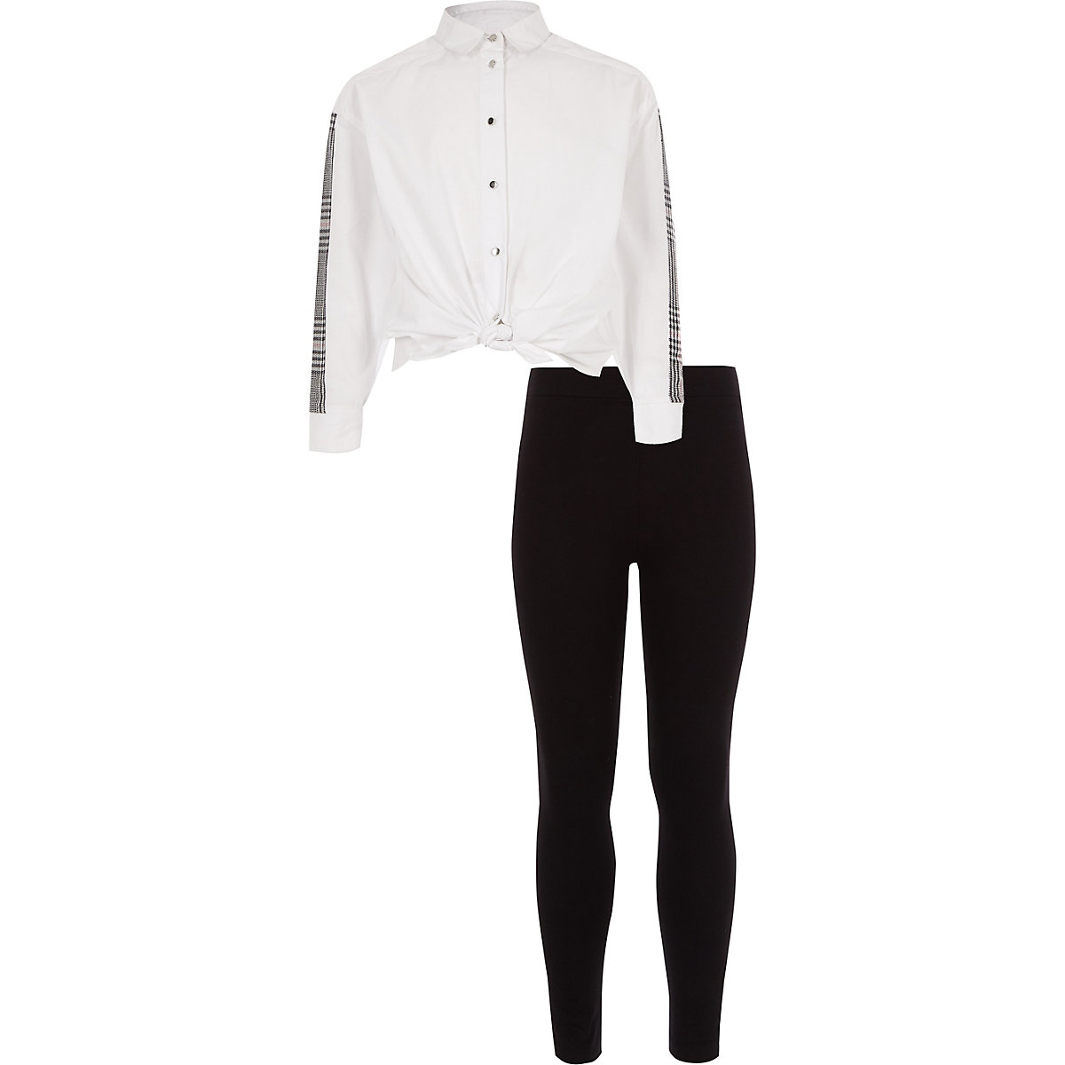 Girls white check side tie shirt outfit