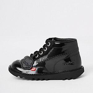 Kickers – Bottes noires vernies à lacets pour enfant