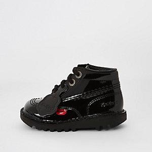 Kickers – Bottines noires vernies à lacets mini enfant