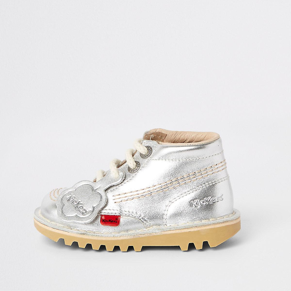 Mini kids silver Kickers lace-up boots