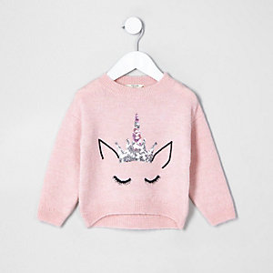 Mini girls pink fluffy knit unicorn sweater