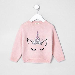 Pull en maille duveteuse rose motif licorne mini fille
