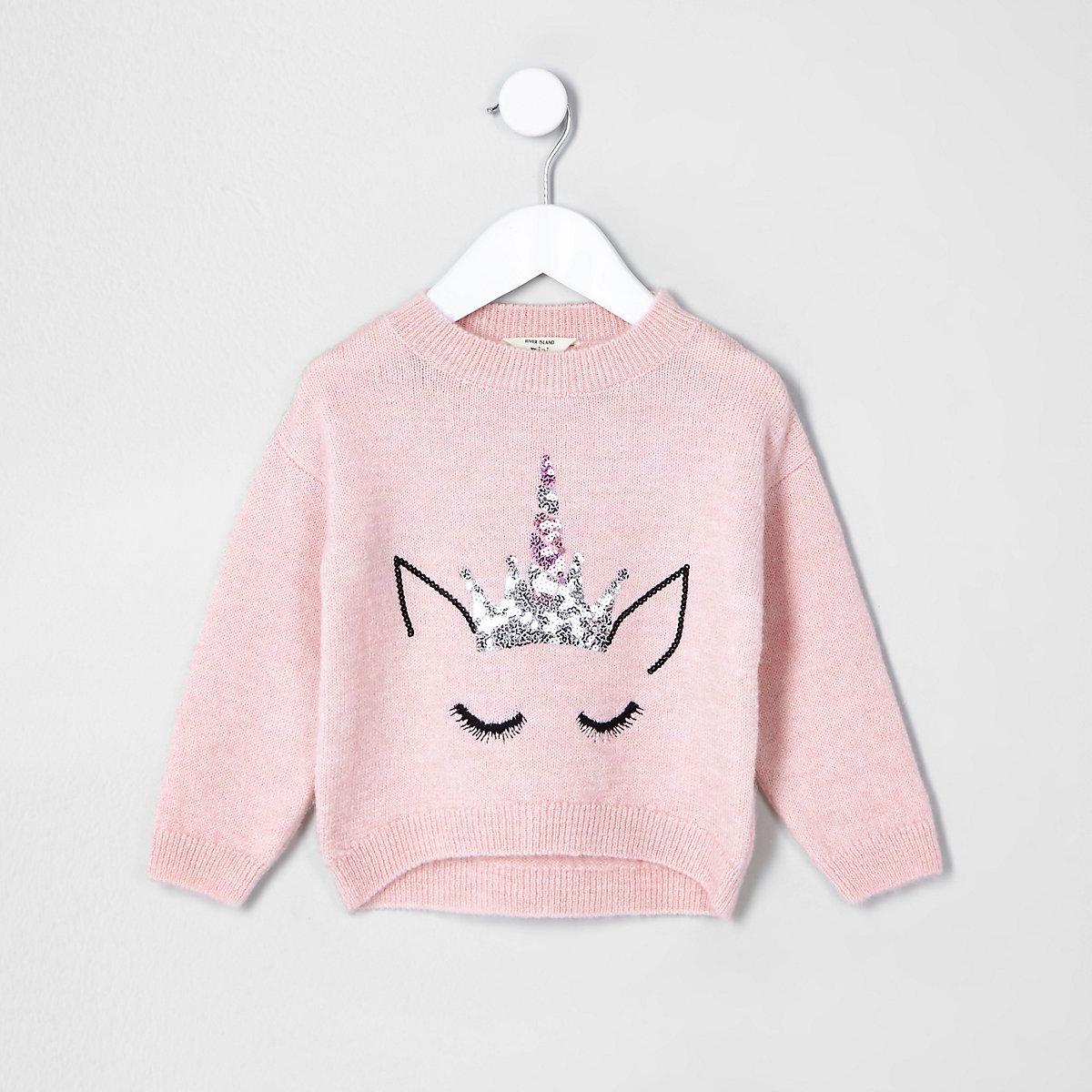 Mini girls pink fluffy knit unicorn jumper