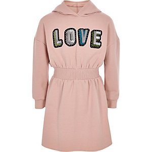 Robe pull « Love » rose pour fille