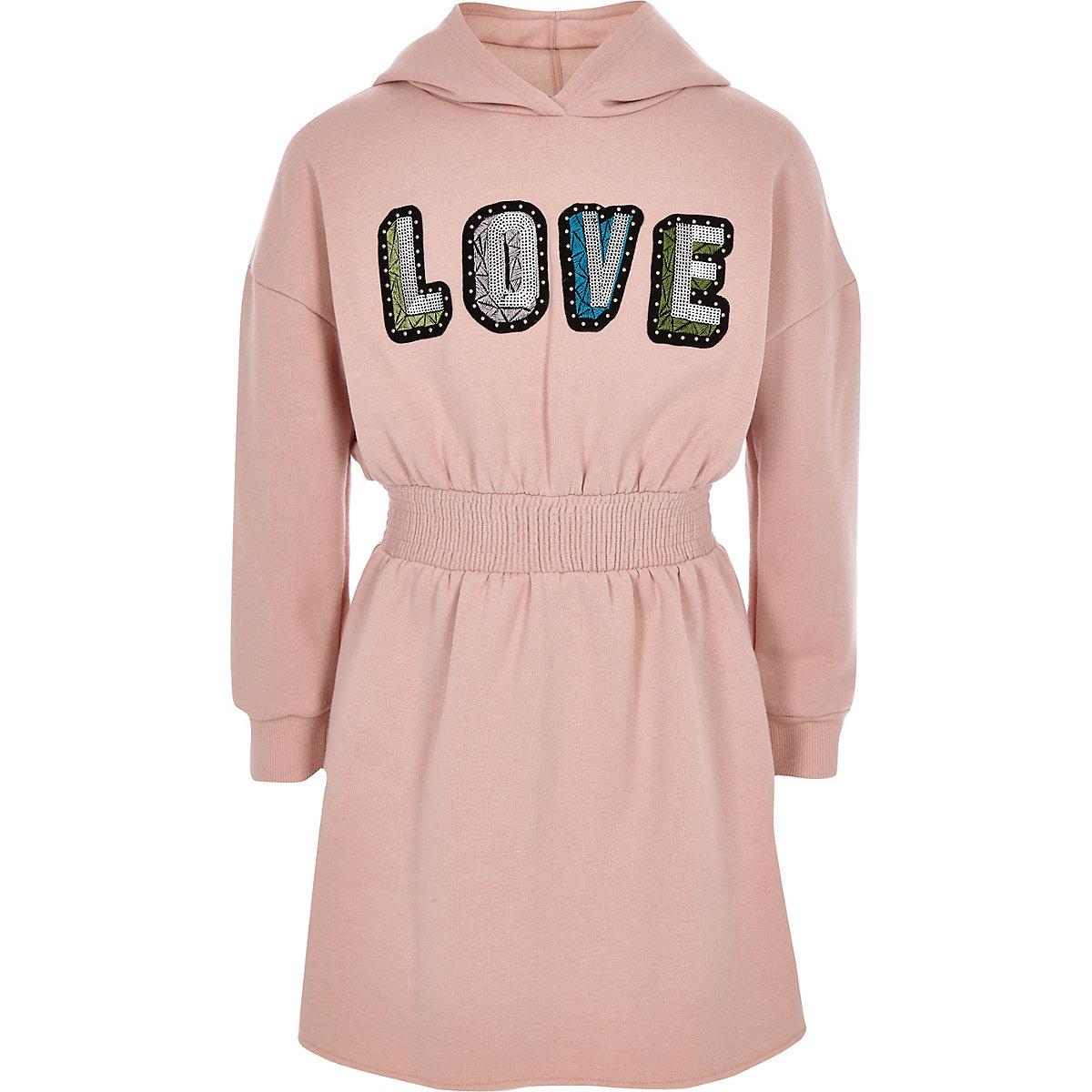 Girls pink 'Love' sweater dress