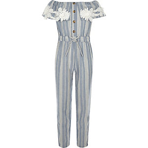 Girls blue stripe bardot jumpsuit