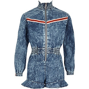 Girls blue denim zip front playsuit