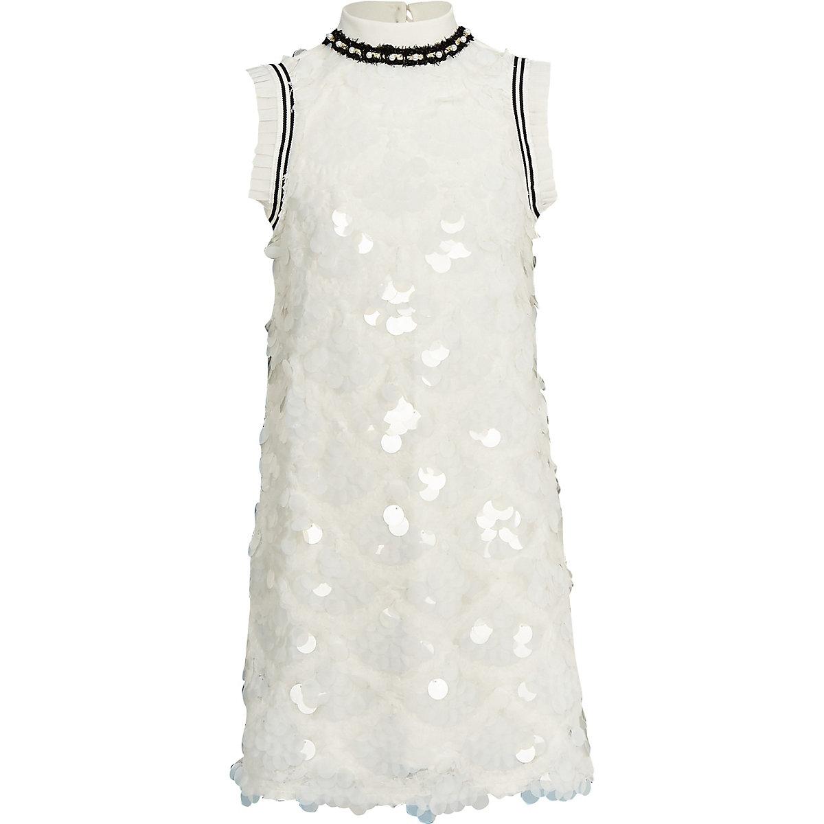 Girls white sequin shift dress