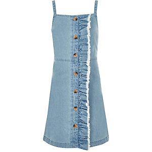 Robe en denim bleue à bretelles fines pour fille