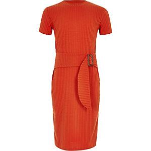 Geribbelde jurk met ceintuur voor meisjes