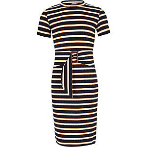 Girls black stripe tie waist dress