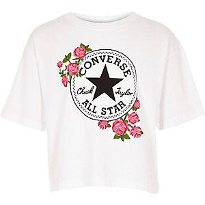 Converse T-shirt met rooslogo in wit voor meisjes