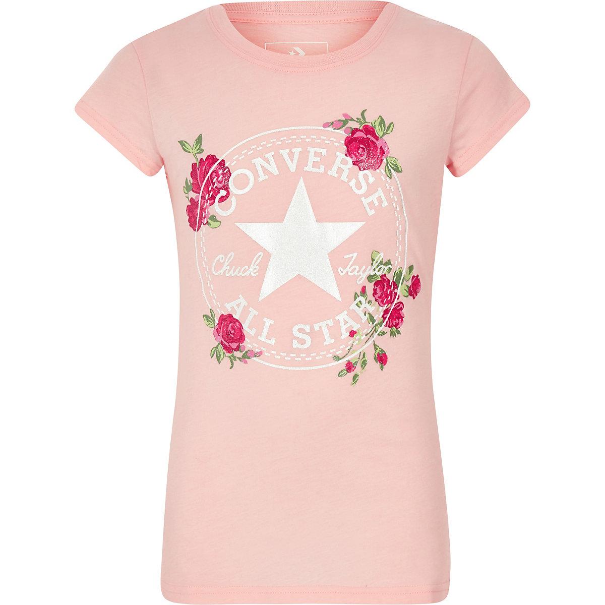 Girls pink Converse rose T-shirt