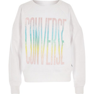 Girls white Converse crop sweatshirt