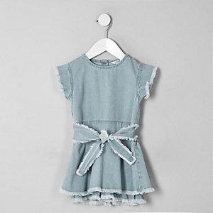 Combi-short jupe-culotte en denim bleu effiloché mini fille