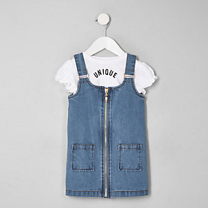 Mini girls blue pinafore dress set