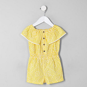 Mini girls yellow gingham bardot playsuit