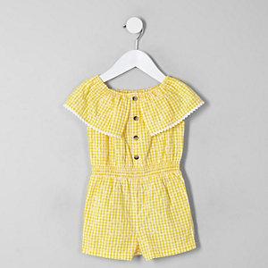 Mini girls yellow gingham bardot romper